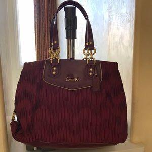 Burgundy Tote, Satin with Burgundy Leather Trim